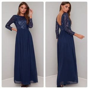 Chi Chi London Navy Gown with Sequins NWT